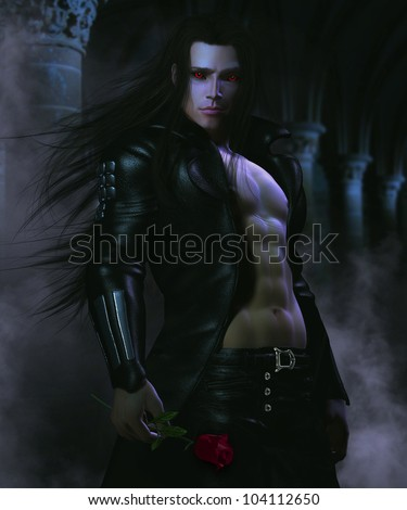 3D fantasy Illustration of a sexy male vampire holding a rose standing in a dark passageway surrounded by mist - stock photo