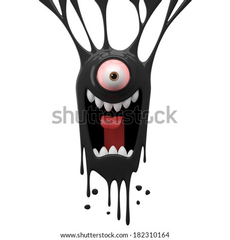 3D fantasy object, color splash character, funny design element, attractive emoticon, unique expression sticker isolated on the white background - stock photo
