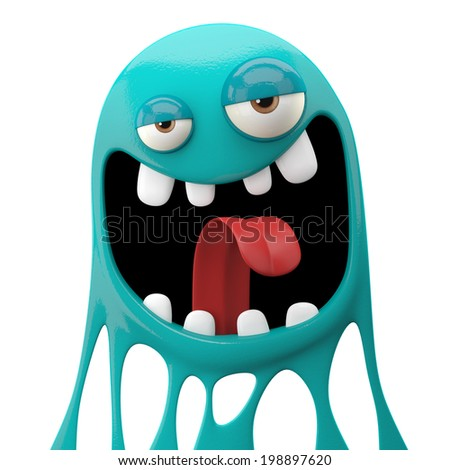 3D fantasy paint object, color splash character, funny design element, attractive emoticon, unique expression sticker , isolated on the white background