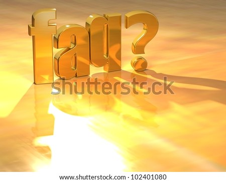 3D Faq?  Gold text over yellow background - stock photo