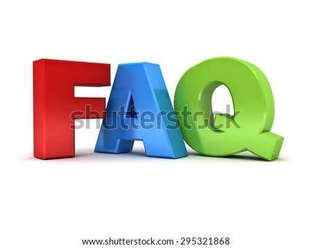 3d faq word or frequently ask question isolated over white background - stock photo