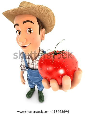 3d farmer holding a fresh tomato, illustration with isolated white background