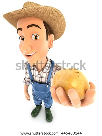 3d farmer holding a potato, illustration with isolated white background