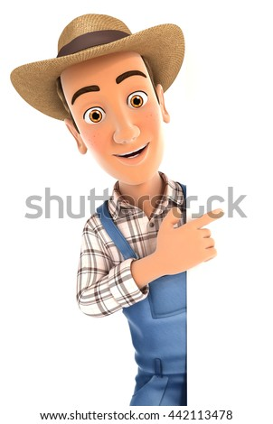 3d farmer pointing to right blank wall, illustration with isolated white background