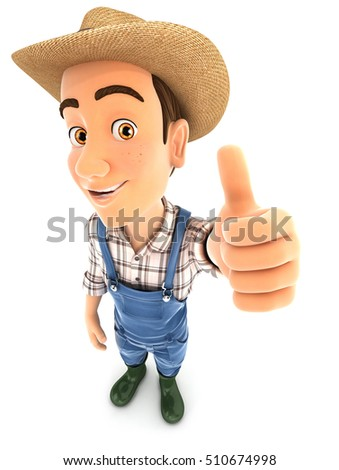 3d farmer positive pose with thumb up, illustration with isolated white background