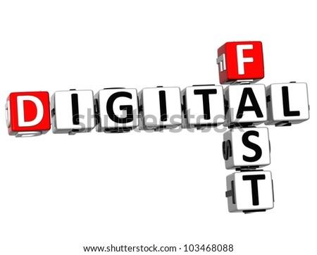 3D Fast Digital Crossword on white background - stock photo