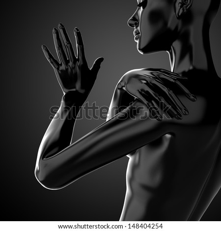 3d female torso, fashion illustration, black model body shape  - stock photo