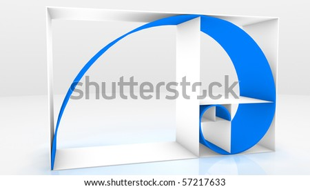 3D Fibonacci Sequence - stock photo