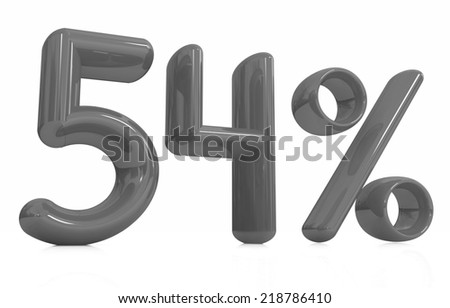 """3d """"54"""" - fifty four percent on a white background - stock photo"""