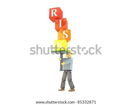 3D figure balancing RISK building blocks - stock photo