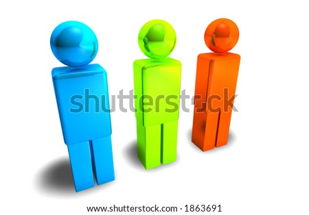 3d figures blue green and red - stock photo
