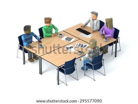 3D figures in a meeting - stock photo