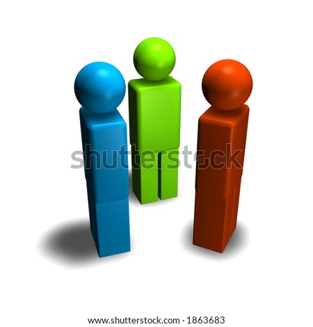 3d figures red blue and green - stock photo