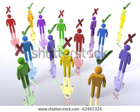 3D figures with ticks or X's in a voting context (with emphasis on diversity) - stock photo