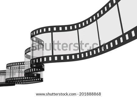 3d film strip on white background - stock photo