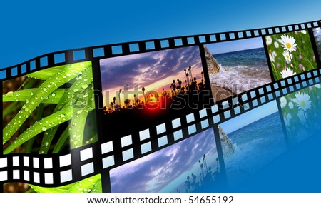 3D film strip with nature pictures - stock photo