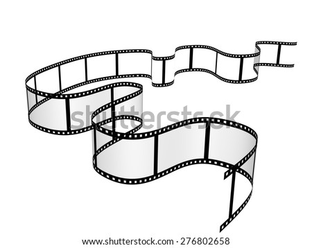 3d filmstrip. Object isolated on white background - stock photo