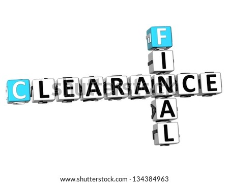 3D Final Clearance Crossword on white background
