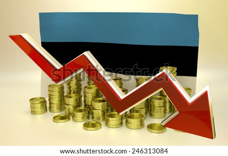 3D finance graph - currency collapse -  Estonian economy - stock photo