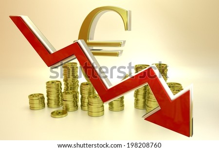 3D finance graph - currency collapse - euro. - stock photo