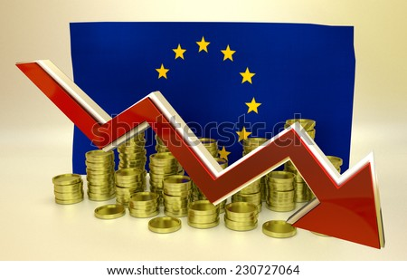 3D finance graph - currency collapse - European Union - stock photo