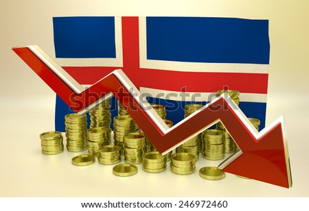 3D finance graph - currency collapse -  Icelandic economy - stock photo