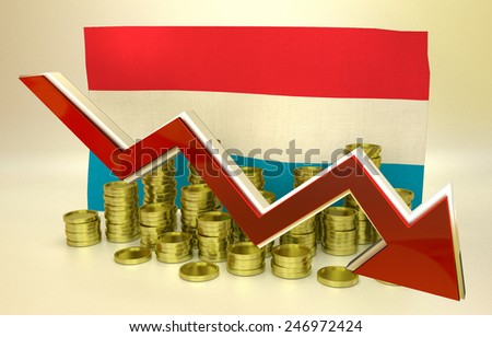 3D finance graph - currency collapse -  Luxembourg economy - stock photo