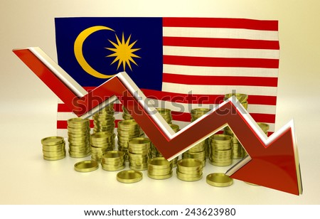 3D finance graph - currency collapse - Malaysia economy - stock photo