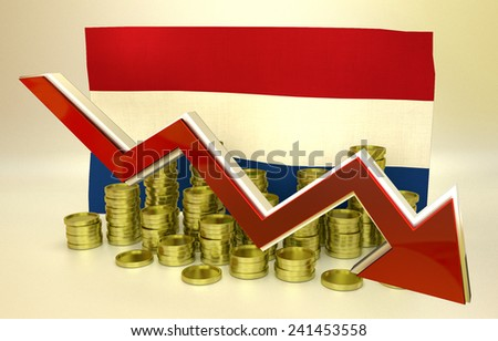 3D finance graph - currency collapse - Netherlands economy - stock photo