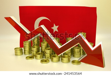 3D finance graph - currency collapse - New Turkish lira - stock photo