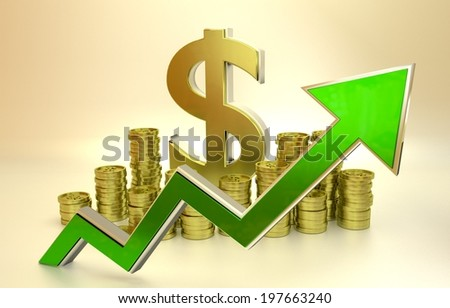 3D finance graph - rise of the dollar. - stock photo