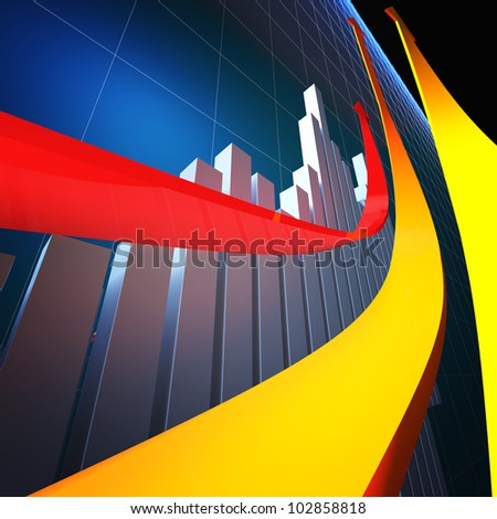 3d financial graph with growing arrows - stock photo