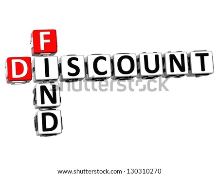3D Find Discount Crossword on white background