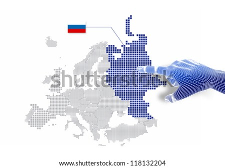 3d Finger touch on display Russian map and flag.