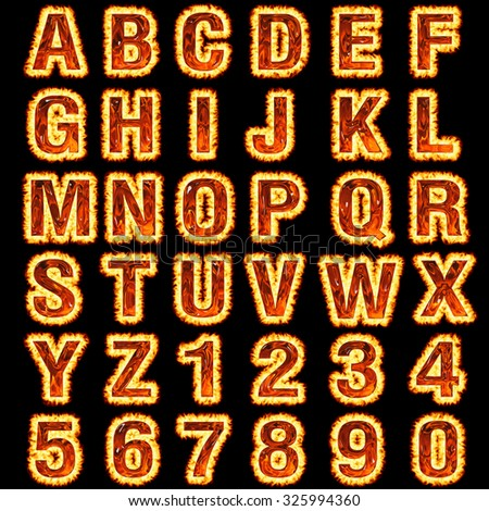 3d Fire font collection on black background - stock photo