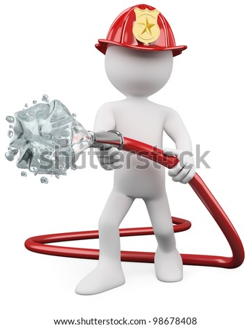 3D fireman putting out a fire. Rendered at high resolution on a white background with diffuse shadows. - stock photo