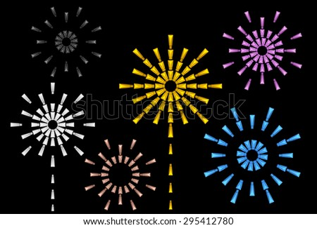 3D fireworks with Tube Package for Grand opening or Carnival and Celebrate, Die cut - stock photo