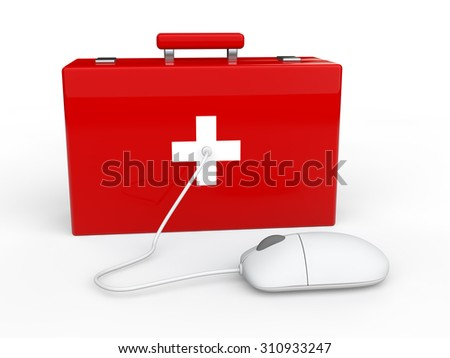 3d first aid box and computer mouse