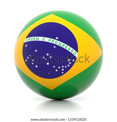 3d flag ball collection - Brazil - stock photo