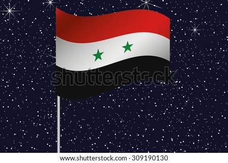 3D Flag Illustration waving in the night sky of the country of  Syria - stock photo