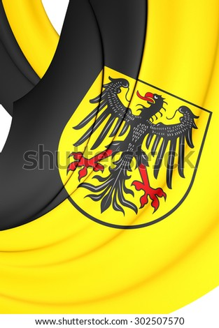 3D Flag of Aachen City, Germany. Close Up.    - stock photo