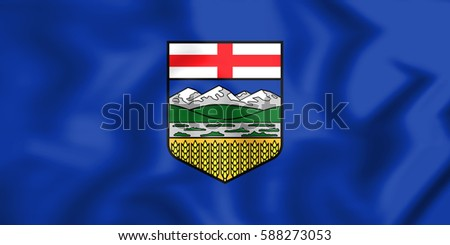 3D Flag of Alberta, Canada. 3D Illustration.