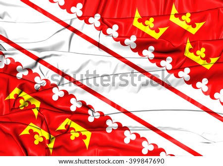3D Flag of Alsace, France. Close Up.    - stock photo