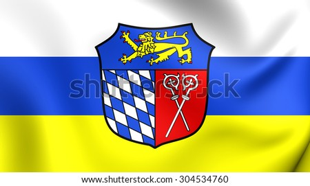 3D Flag of Bad Tolz-Wolfratshausen Landkreis, Germany. Close Up.    - stock photo