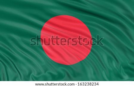 3D Flag of Bangladesh - stock photo