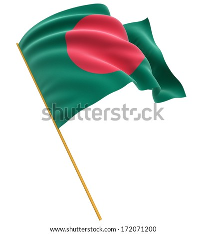 3D Flag of Bangladesh (clipping path included) - stock photo