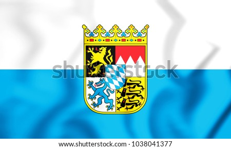 3D Flag of Bavaria, Germany. 3D Illustration.