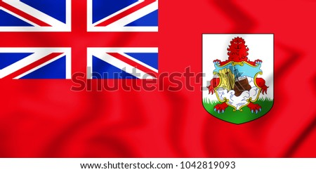 3D Flag of Bermuda. 3D Illustration.