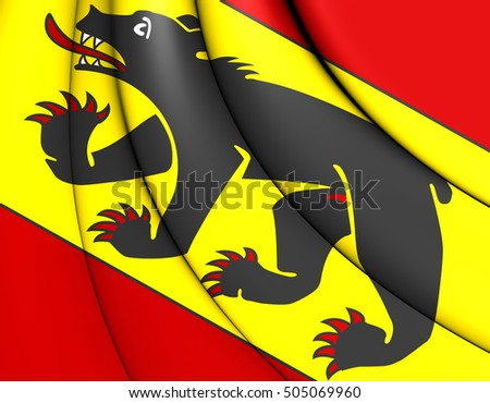 3D Flag of Bern Canton, Switzerland. 3D Illustration.