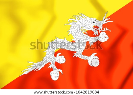 3D Flag of Bhutan. 3D Illustration.
